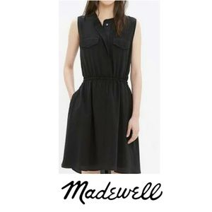 Madewell Black Half Button Down Dress